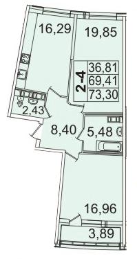 Планировка Двухкомнатная квартира площадью 73.3 кв.м в ЖК «Премьер Палас»