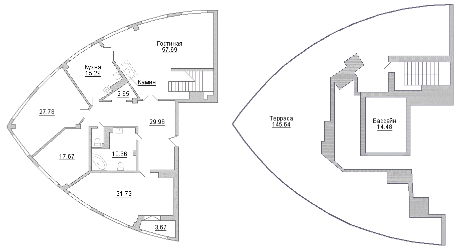 Планировка Четырёхкомнатная квартира площадью 263.6 кв.м в ЖК «Премьер Палас»