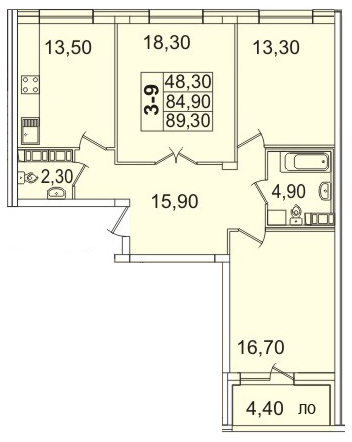 Планировка Трёхкомнатная квартира площадью 89.31 кв.м в ЖК «Премьер Палас»