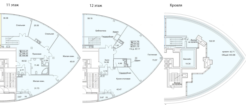 Планировка Шестикомнатные квартиры площадью 205 кв.м в ЖК «Премьер Палас»