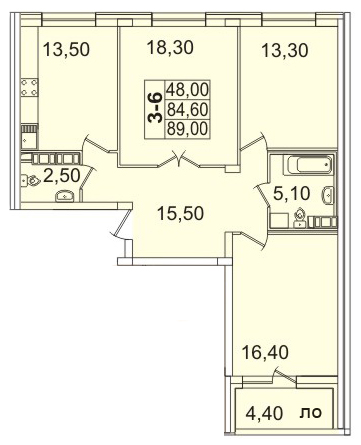 Планировка Трёхкомнатная квартира площадью 89.13 кв.м в ЖК «Премьер Палас»