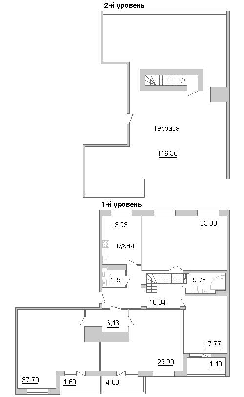Планировка Четырёхкомнатная квартира площадью 218.22 кв.м в ЖК «Премьер Палас»