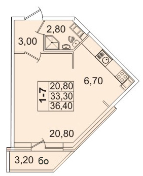 Планировка Однокомнатная квартира площадью 36.43 кв.м в ЖК «Премьер Палас»