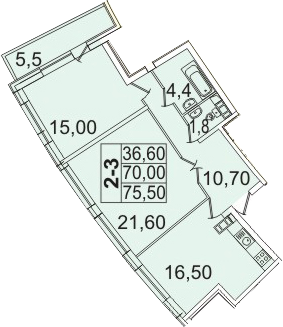 Планировка Двухкомнатная квартира площадью 81.48 кв.м в ЖК «Премьер Палас»