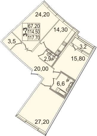 Планировка Трёхкомнатная квартира площадью 120.92 кв.м в ЖК «Премьер Палас»