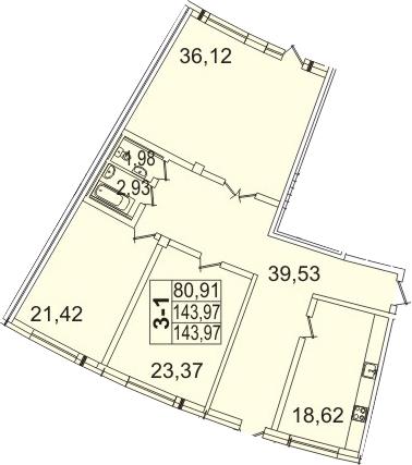 Планировка Трёхкомнатная квартира площадью 144.4 кв.м в ЖК «Премьер Палас»