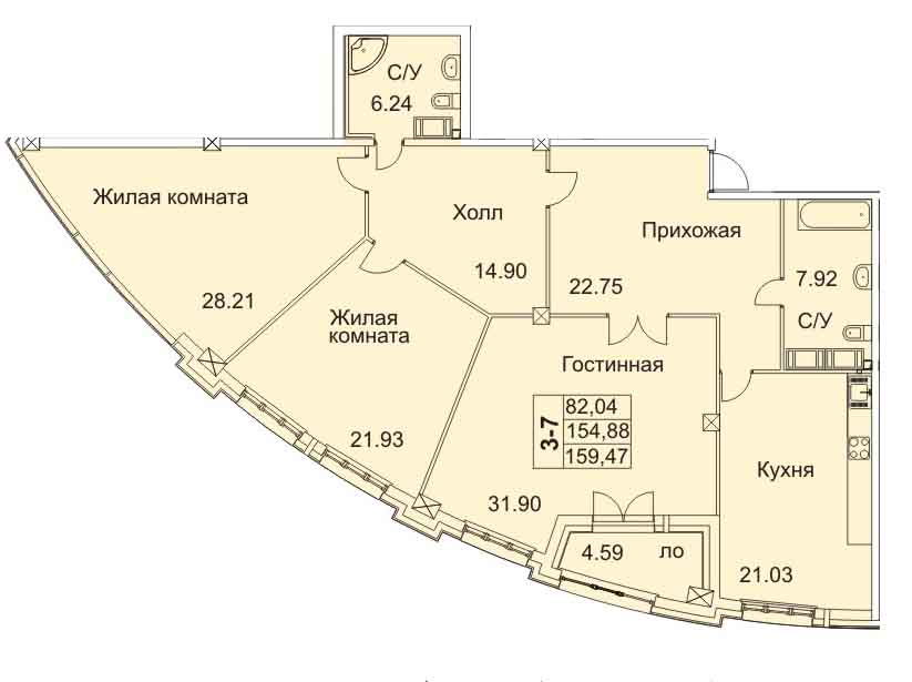 Планировка Трёхкомнатная квартира площадью 158.9 кв.м в ЖК «Премьер Палас»