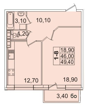 Планировка Однокомнатная квартира площадью 49.63 кв.м в ЖК «Премьер Палас»
