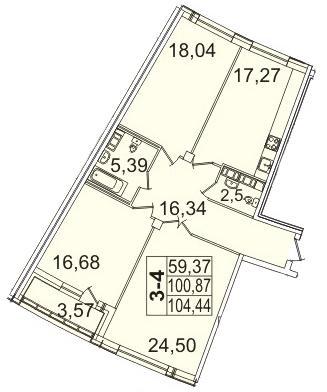 Планировка Трёхкомнатная квартира площадью 104.44 кв.м в ЖК «Премьер Палас»