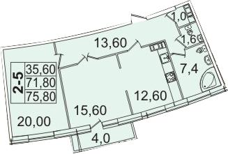 Планировка Двухкомнатная квартира площадью 80.08 кв.м в ЖК «Премьер Палас»