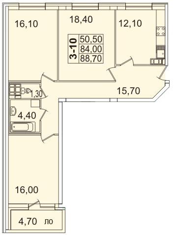 Планировка Трёхкомнатная квартира площадью 89.58 кв.м в ЖК «Премьер Палас»