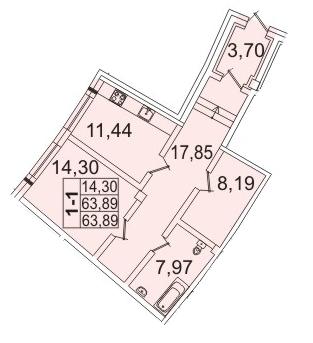 Планировка Однокомнатная квартира площадью 63.2 кв.м в ЖК «Премьер Палас»