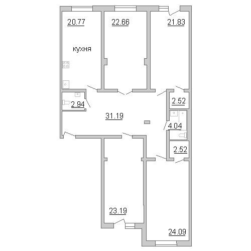 Планировка Четырёхкомнатная квартира площадью 155.72 кв.м в ЖК «Премьер Палас»