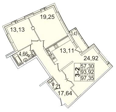 Планировка Трёхкомнатная квартира площадью 97.35 кв.м в ЖК «Премьер Палас»