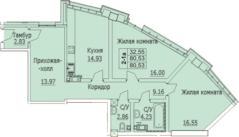 Планировка Двухкомнатная квартира площадью 80.99 кв.м в ЖК «Премьер Палас»