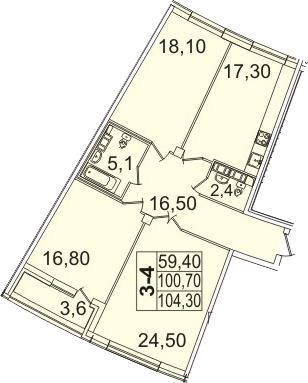 Планировка Трёхкомнатная квартира площадью 108.01 кв.м в ЖК «Премьер Палас»