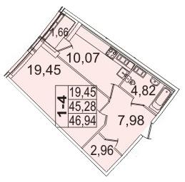 Планировка Однокомнатная квартира площадью 46.94 кв.м в ЖК «Премьер Палас»