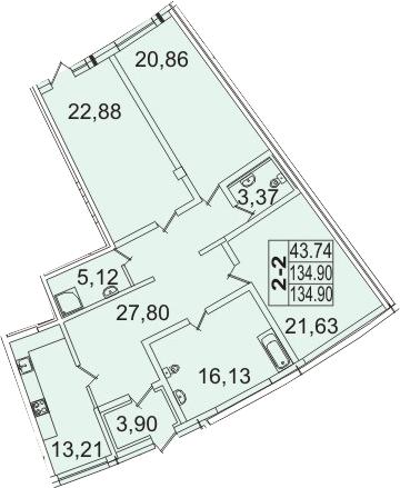 Планировка Двухкомнатная квартира площадью 135.47 кв.м в ЖК «Премьер Палас»