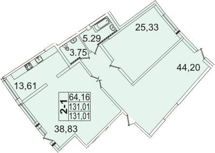 Планировка Двухкомнатная квартира площадью 131.01 кв.м в ЖК «Премьер Палас»