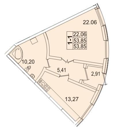 Планировка Однокомнатная квартира площадью 52.99 кв.м в ЖК «Премьер Палас»